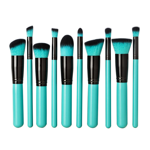 10 Pc Kabuki Style Professional Foundation Blusher Make up Brush Set