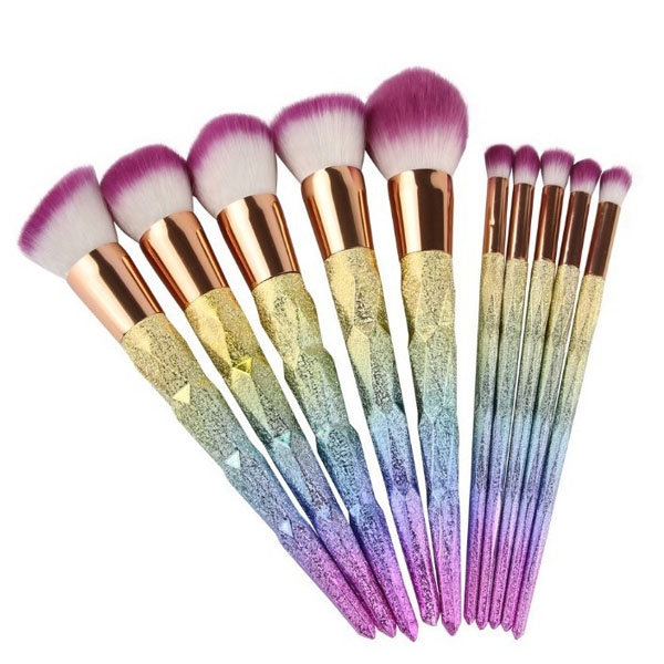 High quality face brush 10pcs synthetic rainbow hanle makeup brush set