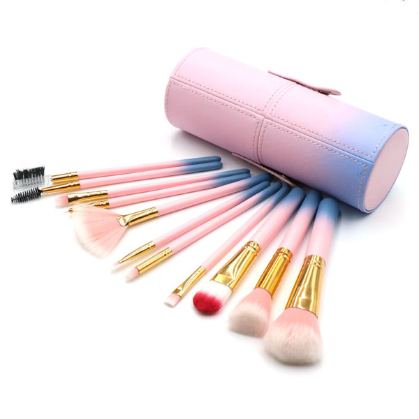 11 Pc Pink & White Synthetic Cosmetic Brush MakeUp Brush Set With Case