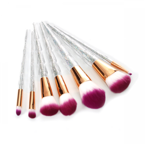Powder Foundation Eyebrow Synthetic Unicorn Glitter Makeup Brush 7Pcs