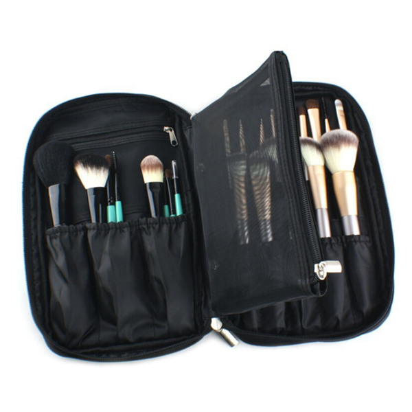 Zipper Black Travel Makeup Pouch Cosmetic Bag Makeup Brush Bag