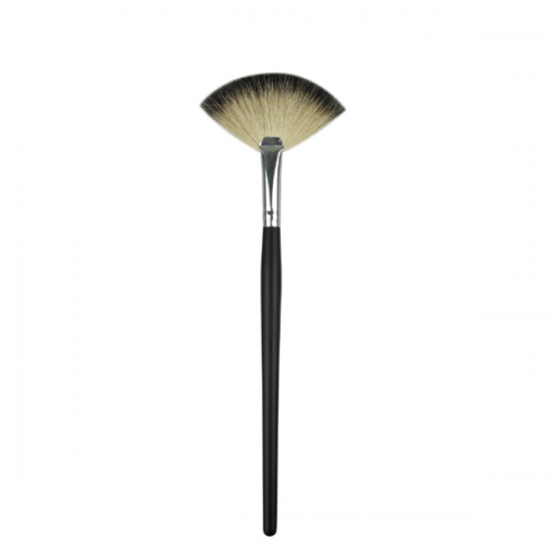 Best Synthethic Hair Silver And Black Handle Cosmetic Fan Brush