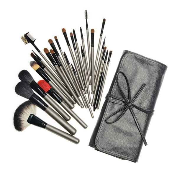 Private Label Wood Goat Hair Cosmetic Makeup Brush 26Piece