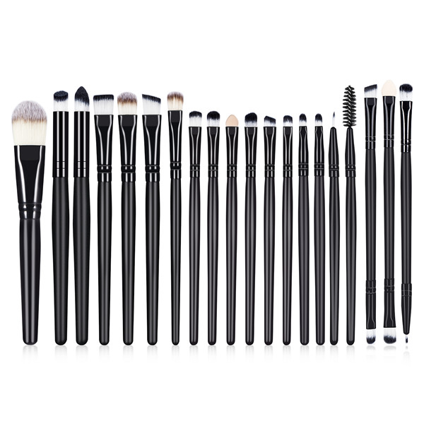 20Pcs Black Wooden Synthetic Eyeshadow Liner Foundation Makeup Brush