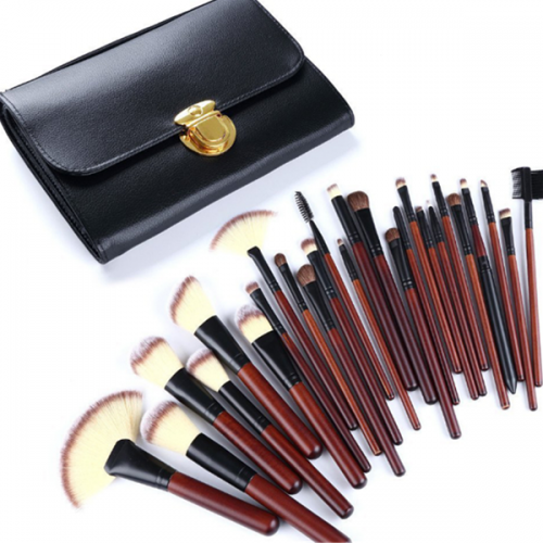professional 26 pcs nature hair wood handle face makeup brush with bag
