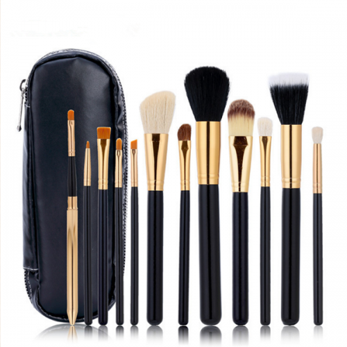 Pro 12Pc Synthetic Black Wooden Cosmetic Makeup Brush Set With Bag