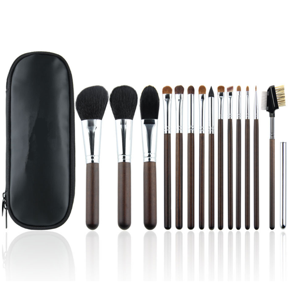 Beauty Cosmetics 15 PCS Goat Hair Makeup Brush Set with PU Leather