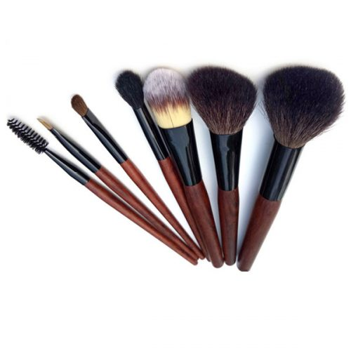 Synthetic Wooden Powder Blusher Concealer Flat Makeup Brush Set 7 Pcs