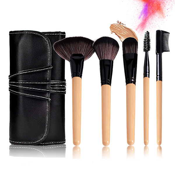24PCS Synthetic Wood Color Foundation Blush Eye Makeup Brushes Set