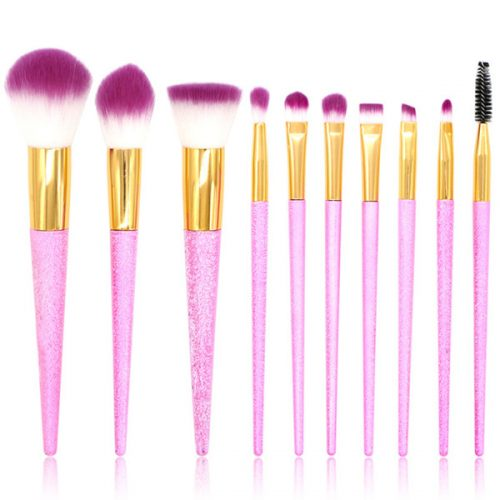 Glitter Unicorn Colors Cosmetic Makeup Brush Set 10Pcs