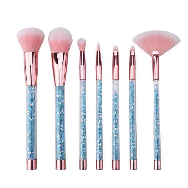 New Cosmetic Blue Diamond Synthetic Face Eye Powder Makeup Brush 7 Pcs