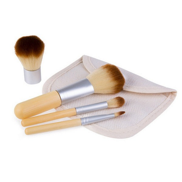 High Quality Synthetic Bamboo Face Powder Eye Shadow Makeup Brush 4Pcs