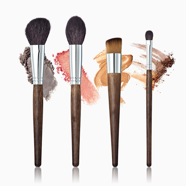 Top Wood Synthetic Cosemtic Face Eye Powder Blusher Makeup Brush 4 Pcs