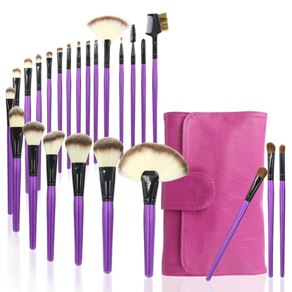 24Pcs makeup brush wood handle cosmetic makeup brushes set with bag