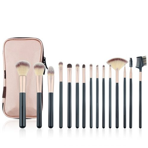 15PCS Eyeshadow Eyeline Eyebrow Cosmetic Tool Kits Makeup Brush