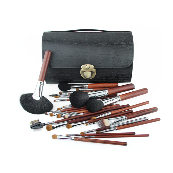 Custom logo synthetic wooden cosmetic makeup brush 26pcs tools with bag