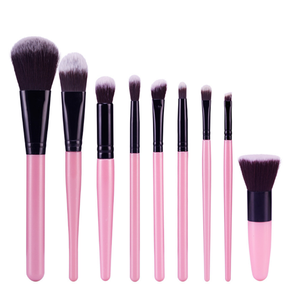 Wooden Synthetic Cosmetic Mineral Blusher Eyeshadow Makeup Brush 11Pcs