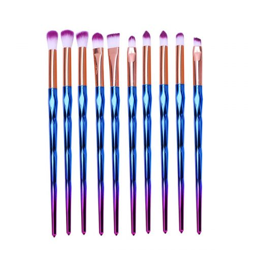 Best Quality Synthetic Unicorn Eye Shadow Eye Brow Makeup Brush 10 Pcs