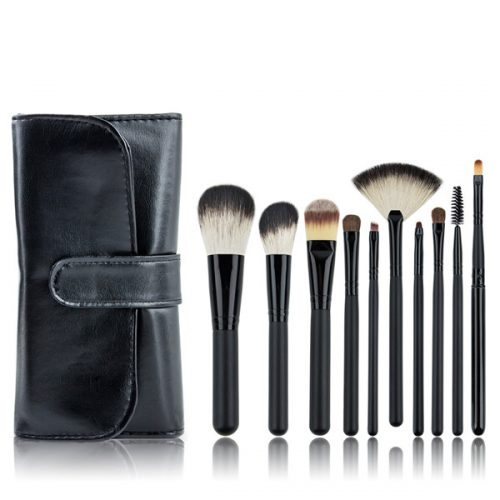 10PCS Professional Cosmetic Makeup Brush with High Quality Black Bag