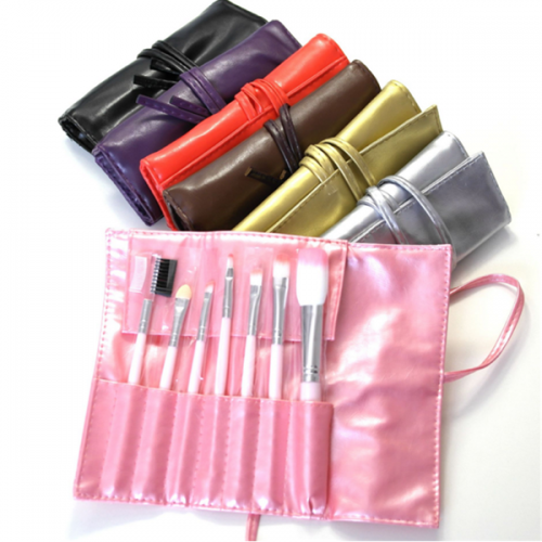 Custom logo synthetic wooden makeup brush set 7pcs with bag