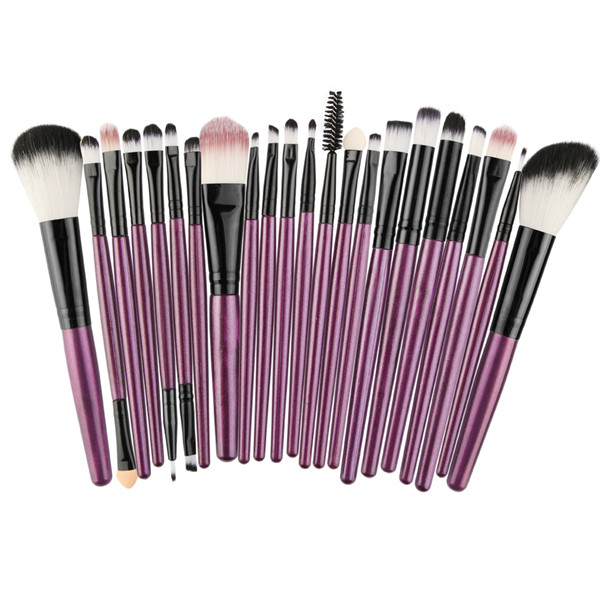 Professional Makeup Brushes Purple Wood Synthetic Makeup Brush 22 Pcs