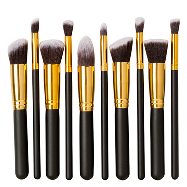 High quality wooden Black and gold kabuki Face makeup brush 10pcs