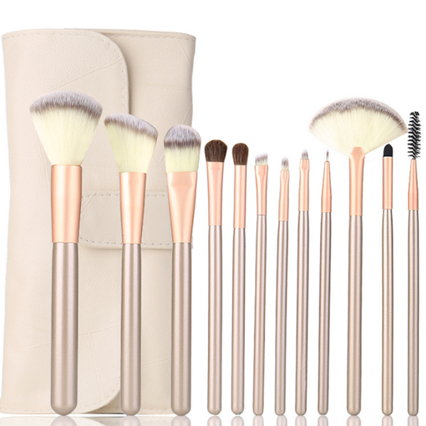 Professional Synthetic Wood White Cosmetic Makeup Brush Set 12 Pcs