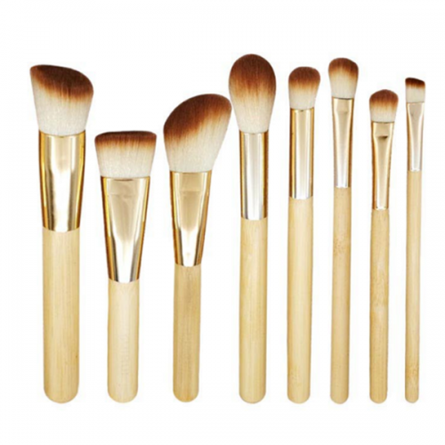 Best Synthetic Wooden Color Cosmetic Face Eye Makeup Brush Set 8Pcs