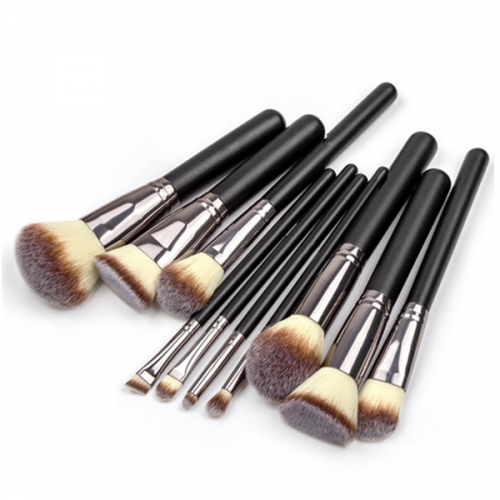 Custom Logo High Quality Synthetic Wooden Powder Eye Makeup Brush 10Pc