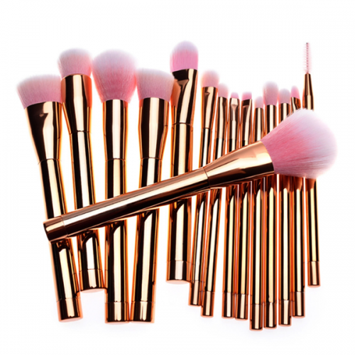 Private label synthetic ross gold handle cosmetic makeup brush 15 pcs