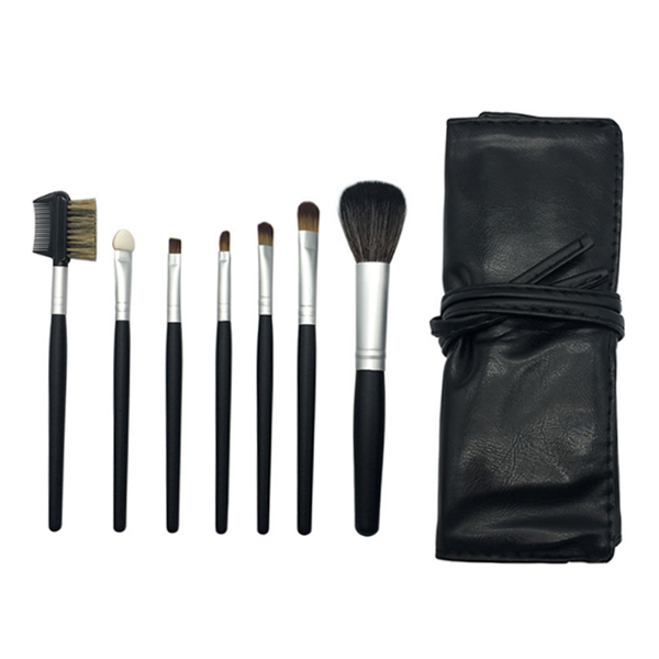 Cheap Cosmetic Brush Private Label Wood Makeup Brush Set 7Pcs With Bag