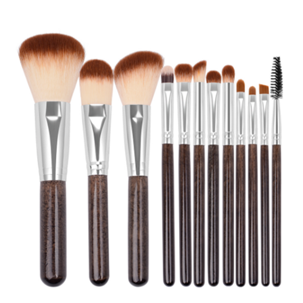 12pcs high quality wooden handle cosmetic face eye brush set with bag