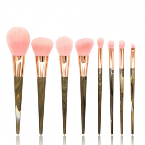 8 Pcs Goat Hair Eye Shadow Eye Brow Liquid Foundation Makeup Brush Set