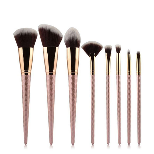 8PCS Top Quality Rose Golden Makeup Brush Set with PU Pouch