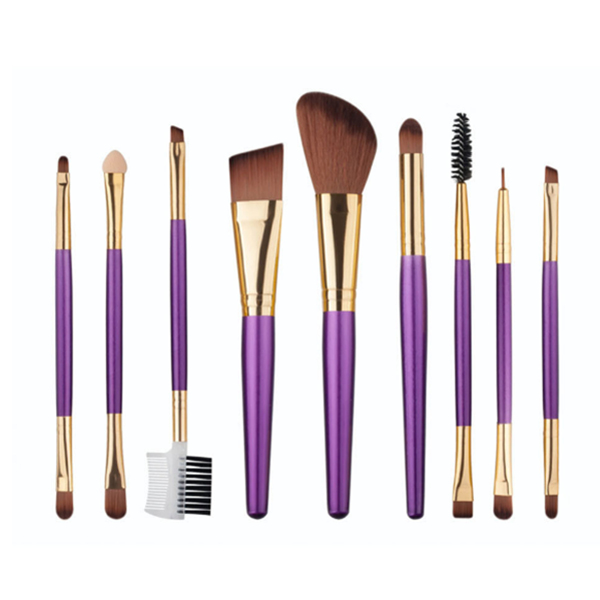 9 PCS New Private Label Synthetic Purple Wood Makeup Brush