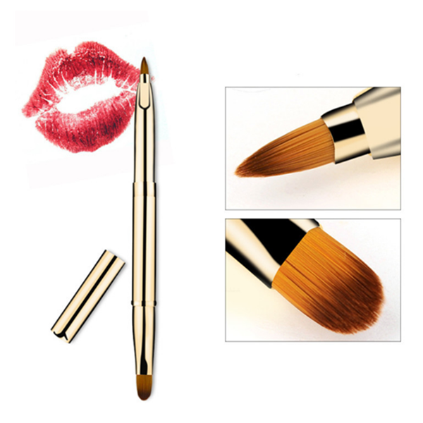High Quality Double Ended Lip Makeup Brush Gold Handle Single Brush