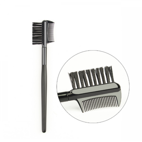 Professional Eyebrow Comb Brush With Black Wood Handle
