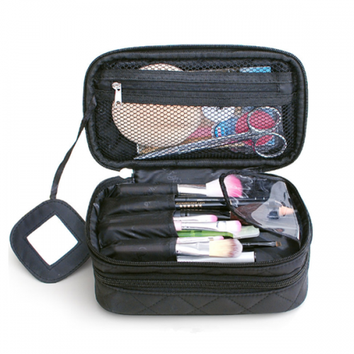 Travel cosmetic pouch mirror makeup organizer zipper cosmetic bag