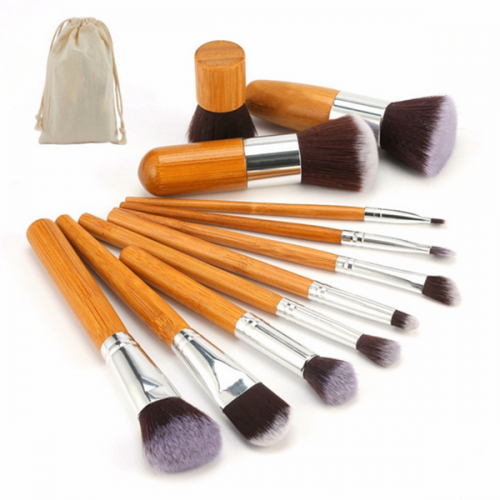11Pcs Makeup Brushes Private Logo Synthetic Bamboo Makeup Brush Set